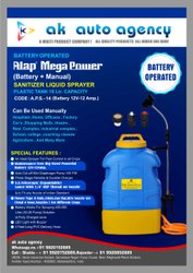 Battery operated disinfectant liquid sprayer
