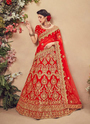 Wedding Special Red Velvet Khatli Work Lehenga Cholis