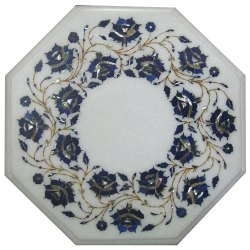 Marble Semi Precious Stone Inlaid Coffee Table Top