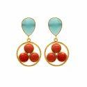 New Design Circular Earring Black Onyx Gemstone 925 Silver Micron Gold Plated Jewellery