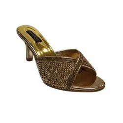 Golden Party Wear Ladies High Heel Sandal