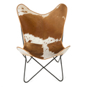 Handcrafted Leather Mild Steel Stand Butterfly Chair, Size: 80 X 70 Cm