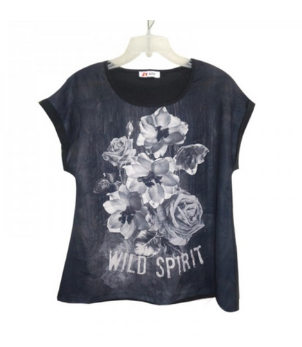 Black Printed Knit Woman T Shirt Aov 1010 Id 19798659348