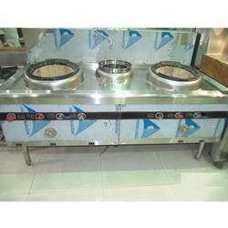 Silver Stainless Steel Chinese Cooking Range, Usage: Commercial