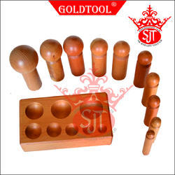Gold Tool Dapping Block with 10 Punches Wooden set