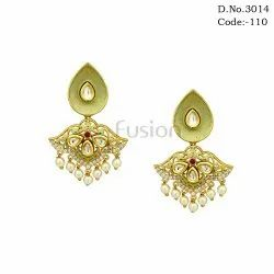 Kundan Hanging Meenakari Fashion Earrings