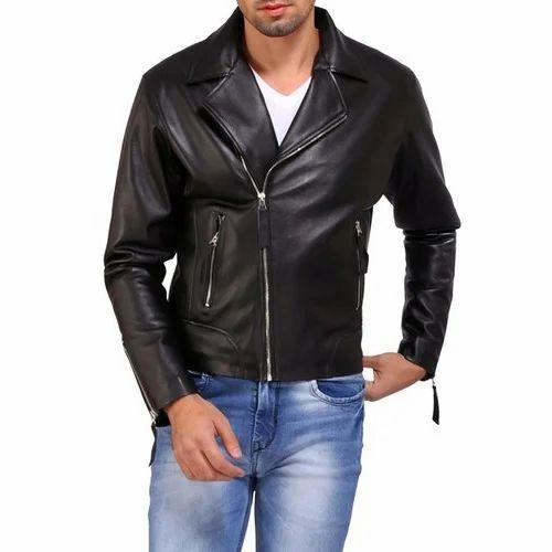 fd3ea0f16c Black Men  s Biker Pure Leather Jacket