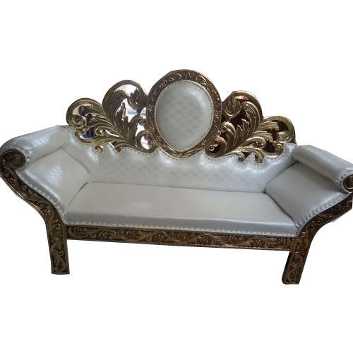 Wedding Loveseat: Wood White And Golden 2 Seater Wedding Sofa, Rs 25000