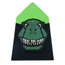 Green Dinosaur T-Rex Handmade Birthday Party Invitations-Pack of 6