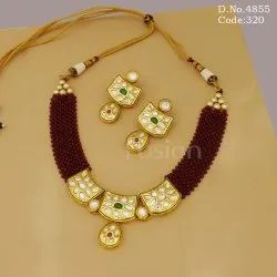 Traditional Kundan Ruby Beads Necklace Set