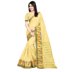 Banarasi Jacquard Saree Cotton Chit Pallu