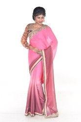 Pink & Brown Embroidered Chiffon Saree