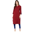 Cotton Dark Maroon Plain Kurti, Size: S, M & L