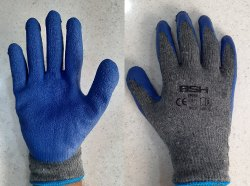 Grey And Blue Unisex Latex Coated Hand Gloves Grey Blue, for Industrial Use