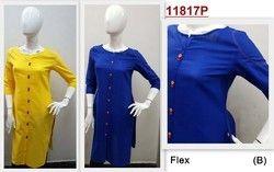 Stylized Fabric Buttoned Ladies Casual Rayon Kurti