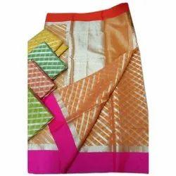 Party Wear Jacquard Weaving Cotton Kota Doria Leheriya Saree, 6.4 meter