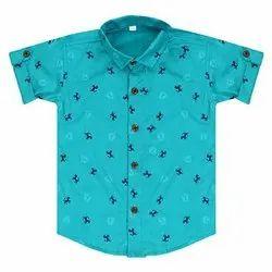Casual Wear Blue Boys Kids Half Sleeves Shirt, S-M