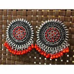 Oxidized Orange Color Earrings