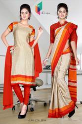 Golden and Red Italian Crepe Uniform Saree Kurti Combo