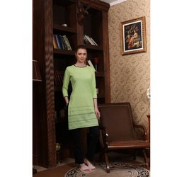 Casual Wear 3/4th Sleeve Ladies Fancy Printed Cotton Kurti, Size: S-XXL, Wash Care: Handwash