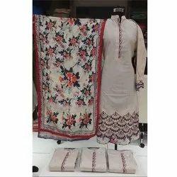 Unstitched Ladies Cotton Suit With Digital Muslin Dupatta, Machine Wash