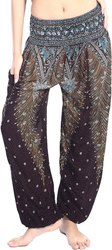 Unbrand Regular Fit Women's Rayon Print Smocked Waist Boho Harem Yoga Pants, Waist Size: 34