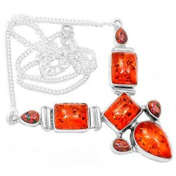 Amber with Fire Opal Necklaces