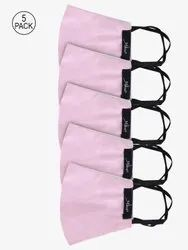 Yelloe Unisex Reusable 3 Layer Pollution Mask In Pink (Pack Of 5)