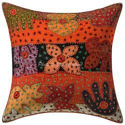Applique Kantha Patchwork Cotton Cushion Cover Pillow Case