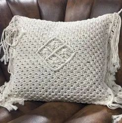 100% Cotton Macrame Cushion Cover With Fringes