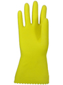 Yellow Household Gloves with Flocklined Lining