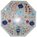 Octagonal White Inlay Dinning Table Tops