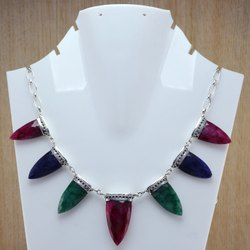925 Sterling Silver Multi Gemstones Necklace