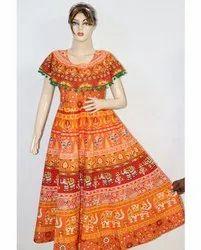 Ladies Jaipuri Printed Orange Cotton Frock