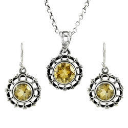 925 Sterling Silver Citrine Pendant And Earring Set