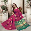 Rani Pink Silk India Indian Party Wear Silk Saree, Machine Made, 5.5 M (separate Blouse Piece)