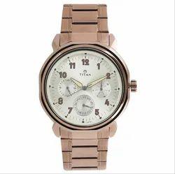 Titan Beige Dial Grey Stainless Steel Strap Watch