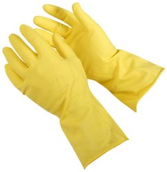 Yellow Rubber Hand Gloves, For Construction/Heavy Duty Work, Size: Medium