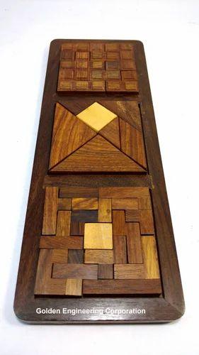 3 in 1 Wooden 3D Puzzle Games Set - Golden Engineering