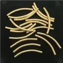 Brushed Gold Plated Curved Tube Bead