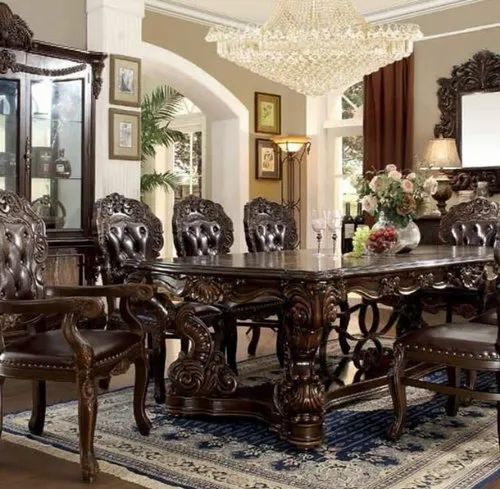 Hand Made Brown Dining Room Big Table, Big Dining Room Tables