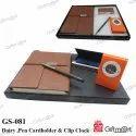 Diary Cardholder Pen & Digital Clock
