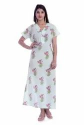 Full Length Ethnic Cotton Hand Block Printed Nighty, Age Group: 15-80 Year