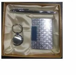 Leather Silver Visiting Card Holder, Metal Pen And Key Chain Set