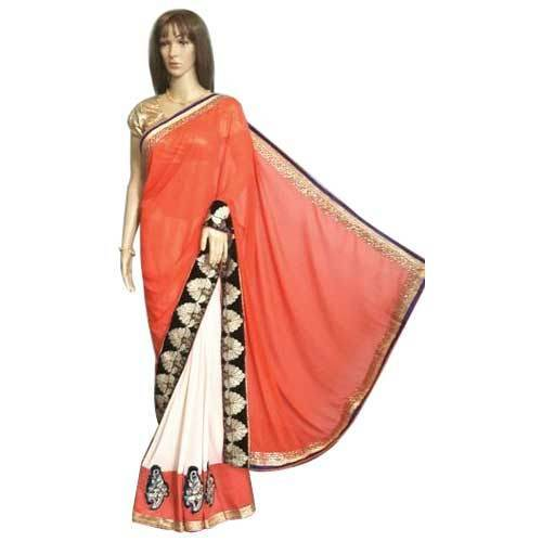 557976b301753 Party Wear Chiffon Saree