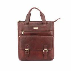Unisex Brown Leather Sling  bag