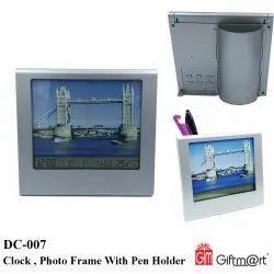 Giftmart Grey Clock, Photo Frame With Pen Holder