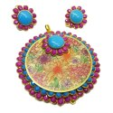 Navrabeads Girls Pink And Light Blue Pachi Pendant With Earrings, Size: 2 Inches