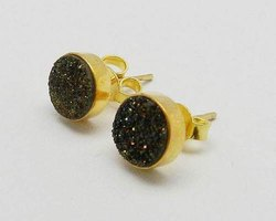 Studs Druzy Sterling Silver Earrings