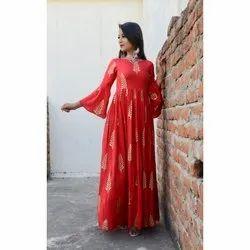 Ladies Red Printed Cotton Kurti